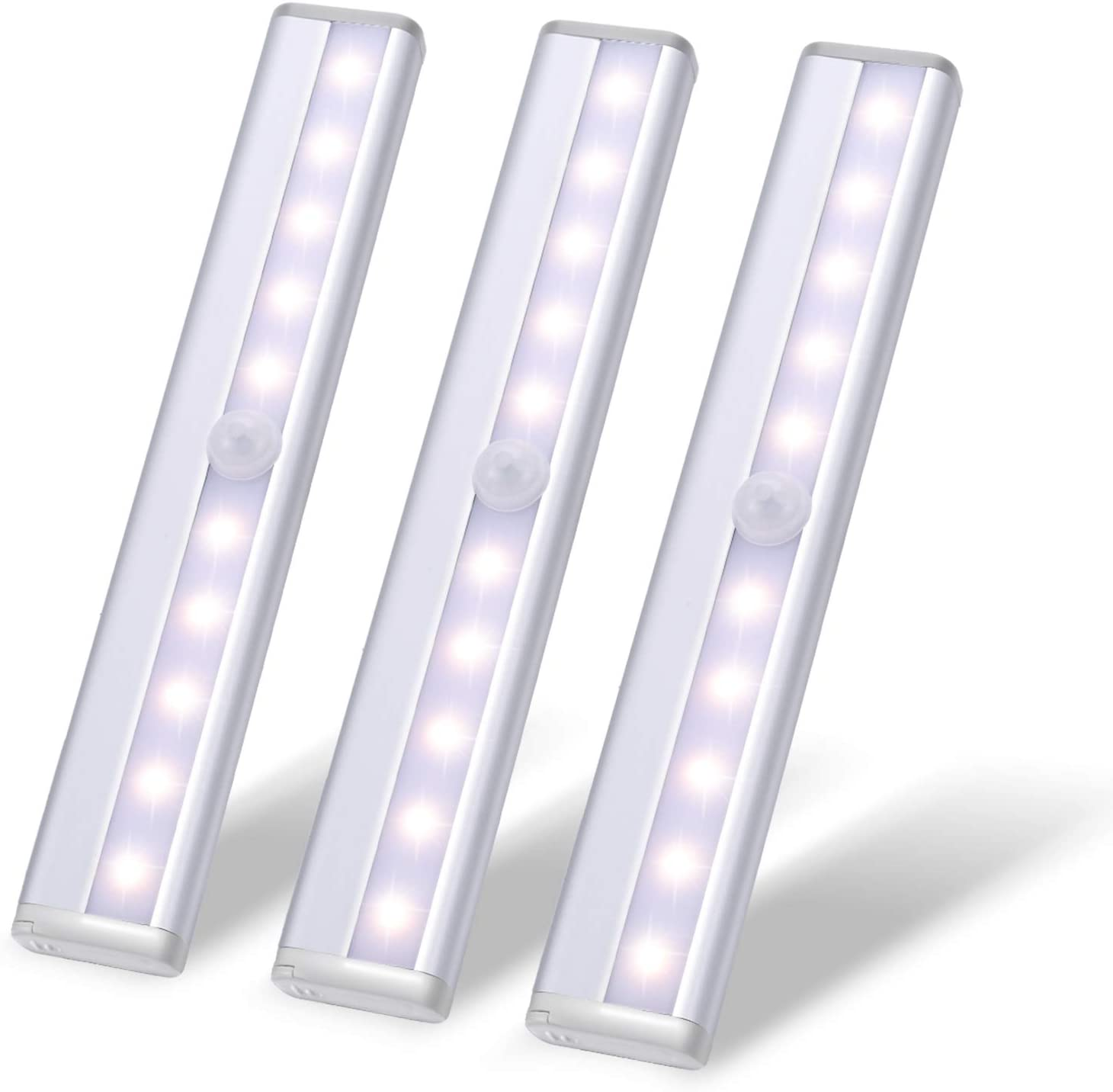 Closet Motion Activated Light,Under Cabinet Lights,Homelife Sensor Nightlight,10LED Wireless Cordless Stick-on Battery Operated Aluminium Alloy Night,for Stairs,Wardrobe,Kitchen,Hallway(3 Pack White)