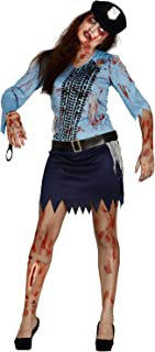 Ladies Dead Zombie Bloody Police Woman Officer Scary Halloween Fancy Dress Costume Outfit