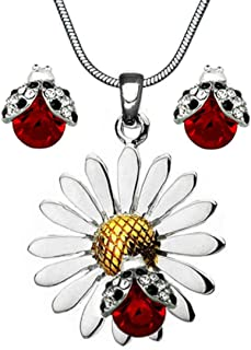 Beautiful Silvertone Daisy Flower Ladybug Pendant Necklace and Earrings Stud Set 21