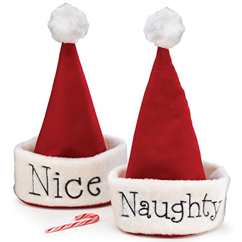 5f669a3ff4b64 Santa Christmas Hat with Hand Stitched Naughty Or Nice Festive Holiday Hat