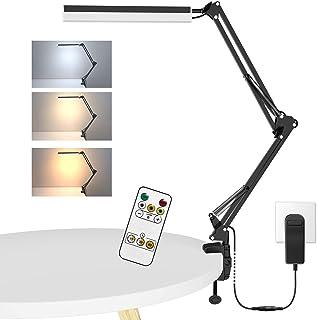 ERAY Lampe de Bureau LED à Pince Dimmable, 8W Lampe d'Architecte, Éclairage sur trois côtés/ Télécommande/ 3 Modes de coul...
