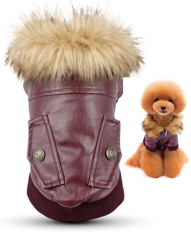 AOBRITON Dog Clothes Leather Coat Winter Dog Jacket Coat for Small Dogs Pets Pug French Bulldog Schnauzer Roupa cachorro
