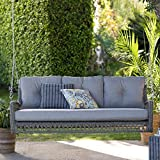 KLZ_KLZ Wicker Outdoor Porch Swing Bed with Cushions