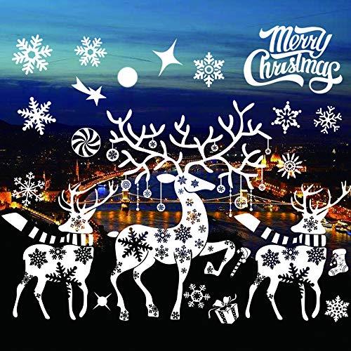 YOUYIKE® Pegatinas Navidad para Ventanas,DIY Copo De Nieve Alce Papá Noel Adhesivos,Extraíble PVC Pegatinas Electrostáticas para Murales Decorativos Escaparate,Tienda,Oficina