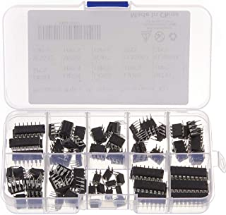Bridgold 85 pcs 10 Types Integrated Circuit chip Assortment Kit,opamp,Single Precision Timer,pwm,Including:LM324 LM358 LM3...