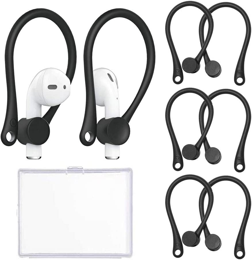 3 Pairs Ear Hooks for AirPods 1 & 2 and Pro, Professional Anti-Slip Silicone Earbuds Tips Hook Compatible with Apple Airpods 1 & 2 and Pro (3Pairs Black)
