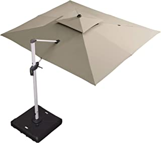 PURPLE LEAF 9' X 11' Double Top Deluxe Rectangle Patio Umbrella Offset Hanging Umbrella Outdoor Market Umbrella Garden Umbrella, Beige
