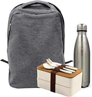 Tezkar Backpack I Book bags with lunch boxes and water bottles| Multi Purpose Holders & 500 Ml Stainless Steel Bottle Back...