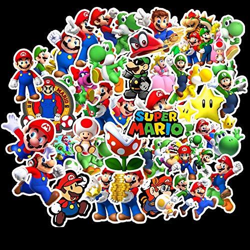 Anime Stickers 50 Stück Mario Graffiti Aufkleber Super Mario Persönlichkeit Motorrad Trolley Fall Aufkleber Cartoon Wasserdichte Aufkleber