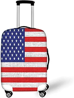 Best Quality Travel Luggage Cover Suitcase Protector,Rustic American USA Flag,Fourth of July