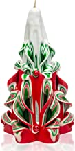 Christmas Candles - Decorative Candles - Carved Candles - Gift Candles - Green Red White 8 inches - Tall Decorative Candles - Hand Carved Candles - Christmas Tree Candle - Gift Carved Candles