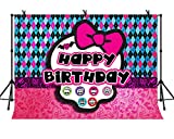 LYLYCTY 7x5ft Monster Birthday Backdrop for High Students Girls Kids Photography Background Cartoon Magenta Grid Party Banner Backgrounds LYZY1208
