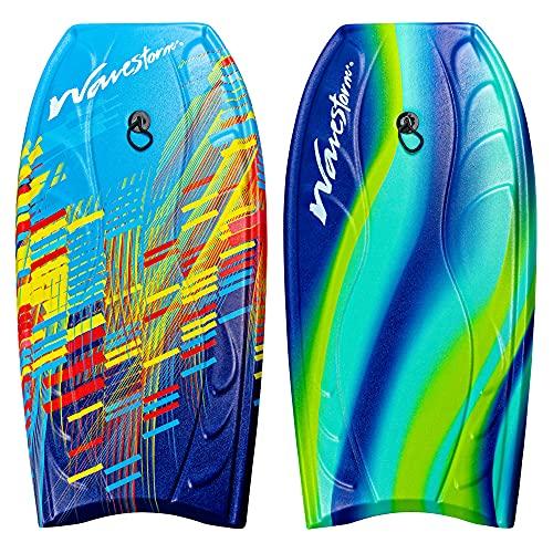 "Wavestorm Foam Bodyboard 40""   Bodyboard for Beginners and All Surfing Levels   Complete 2 Pack Board Set Includes Leash, Multi"