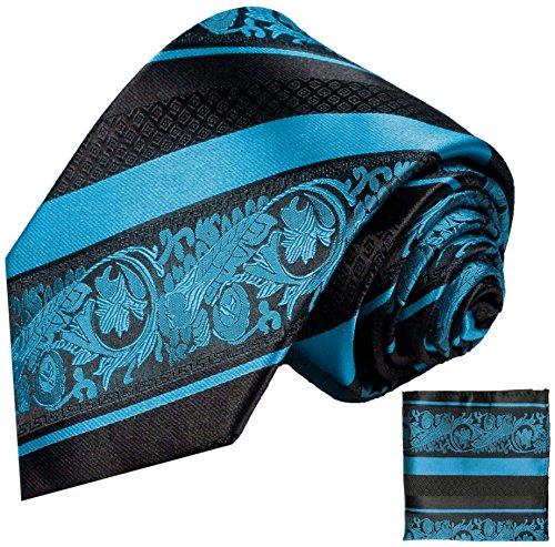 Cravate homme bleu rayé noir ensemble de cravate 2 Pièces (100% Soie Cravate + Mouchoir)