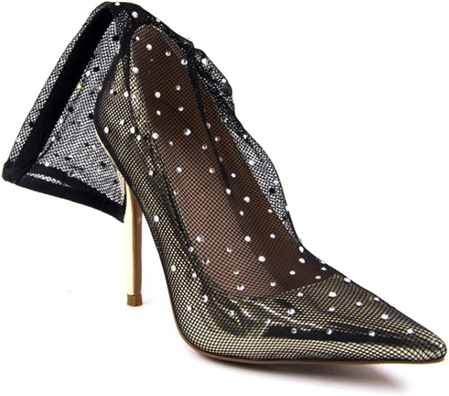 Themost Sexy Lady Diamonte Sock Pumps Stiletto High Heel Party Dress shoes Ponited Toe