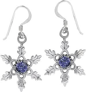Gemstone 925 Sterling Silver Snowflake Dangle Earrings