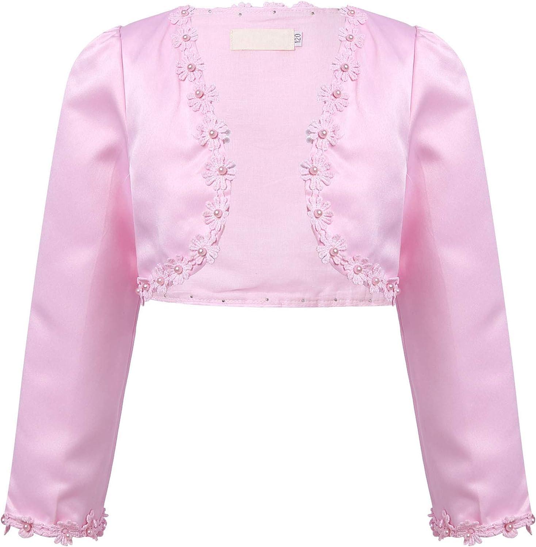 YiZYiF Kids Long Sleeve Floral Beaded Bolero Shrug Jacket Coat Pageant Wedding Cardigan Flower Girls Dress Cover Up