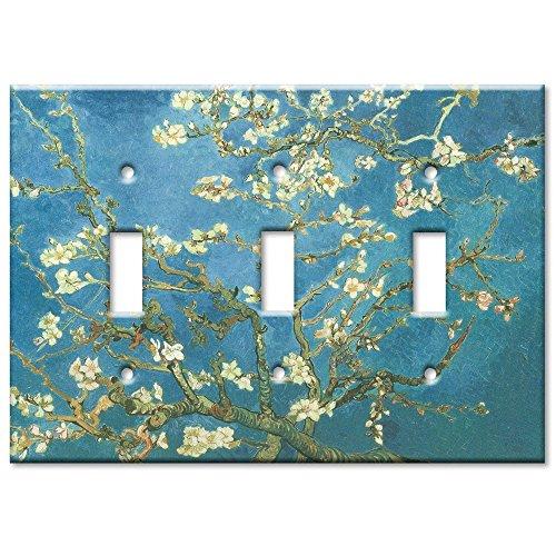 Triple Gang Toggle Wall Plate - Van Gogh: Almond Blossoms