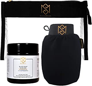 MS Moroccan Black Soap and Exfoliating Glove Kit for Body Scrub - Dead Skin Remover And Deep Pore Cleanser - incl. 1 Moroc...