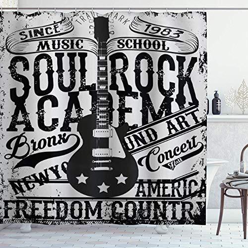 ZORMIEY Cortina de Ducha,Póster Retro Soul Rock Academy Theme Music School Guitarra...