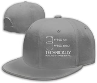 TSDIFNG0S Technically The Glass is Completely Science Baseball Cap Flat Bill Hats Snapback Hat Brim for Men Women Adjustable