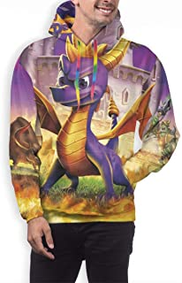 Mens Spyro The Dragon Pullover Hoodie Sweatshirts Long Sleeve Pocket Drawstring Hooded Top