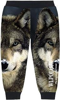 Linnhorr Chicos Frescos Pantalones Niños Pantalones de Punto Ropa de Niños Estampado Lobo Niños Hip Hop Cintura Elástica P...