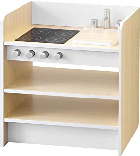 RiZKiZ おままごとキッチン 2WAYタイプ 【ホワイト】 裏返すと収納ラックとして使える リバーシブル 木製 安心安全設計 子供用 組立式
