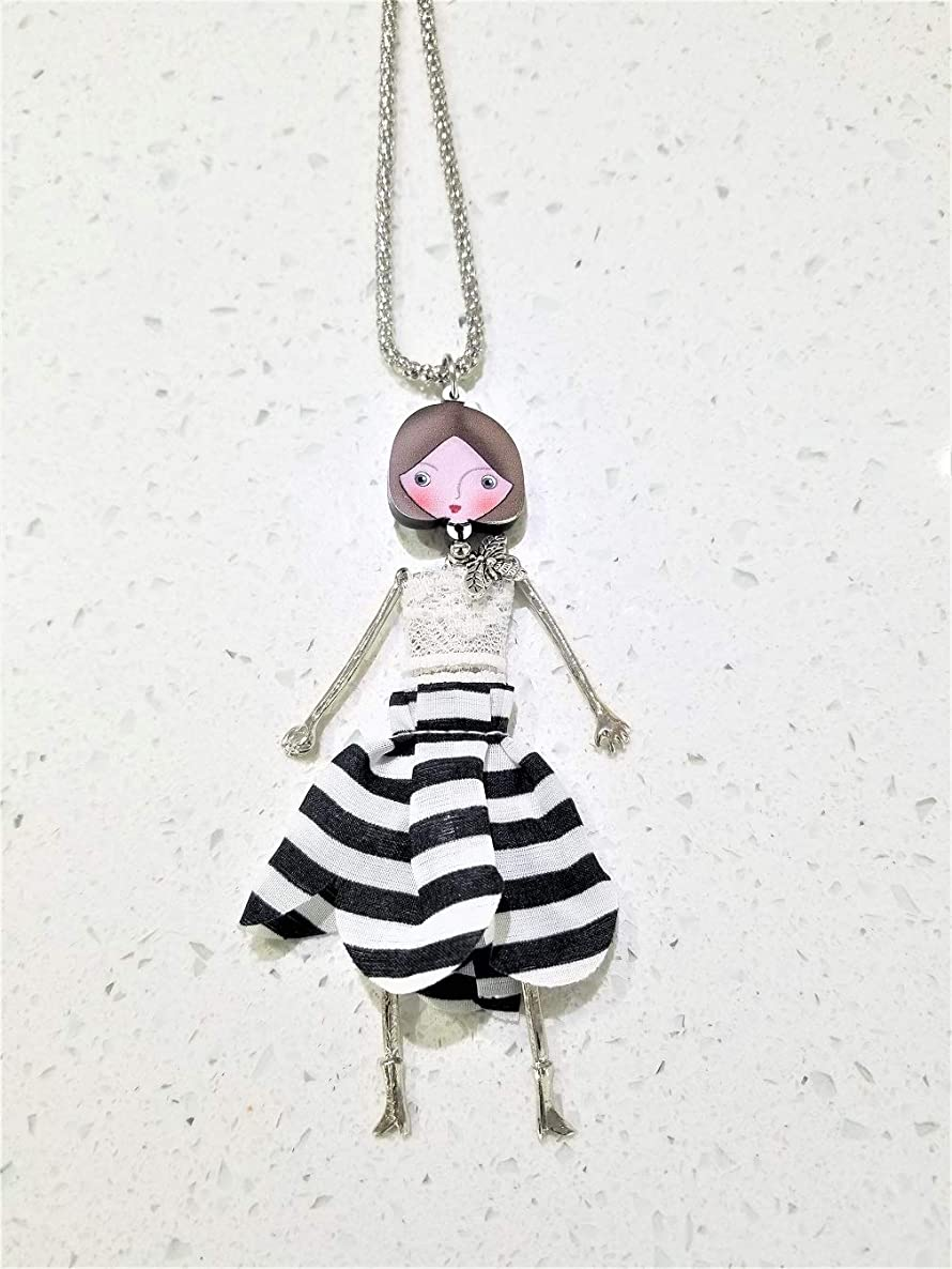The Crafty Owl Cute French Doll Necklace with Fabric Dress Pendant - Black and White Stripes