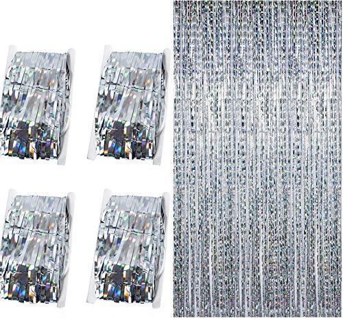 Diffrant 4 Piezas Cortina de Decoración de Fiesta, Brillantes Foil Fringe Cortinas Curtain con Flecos de Papel Aluminio Metálicos Cortina Lamina Metálica Boda Cumpleaños Navidad Decoración (Plateado)