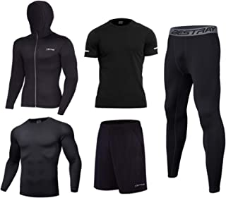 Men's Workout Set Mens Thermal Underwear Set Long Sleeve Tops Thermal Base Layer Bottom Fleece Lined Quick Drying
