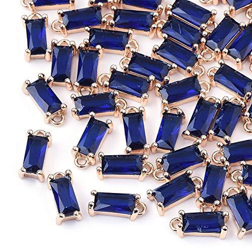 Cheriswelry 50 cuentas rectangulares facetadas de cristal pequeñas colgantes de cuentas de cristal transparente con detalles de latón dorado para collar y pendientes de joyería, azul mediano