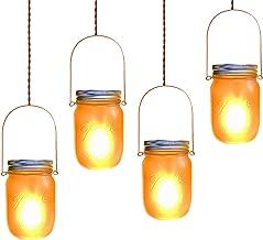 Solar Mason Jar Lights,4 Pack LED Flickering Flame Effect Light,Solar Lanterns for Outdoor Patio Party Garden Wedding Christmas Decor Lights(Mason Jars/Handles Included)