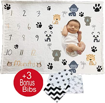 Baby Monthly Milestone or Swaddle Blanket for Boy