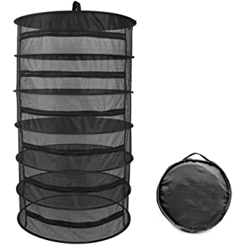 """Herb Drying Rack 6 Layer Collapsible Black Mesh Hanging Drying Rack with Zipper Opening (40.2"""" x 23.6"""")"""