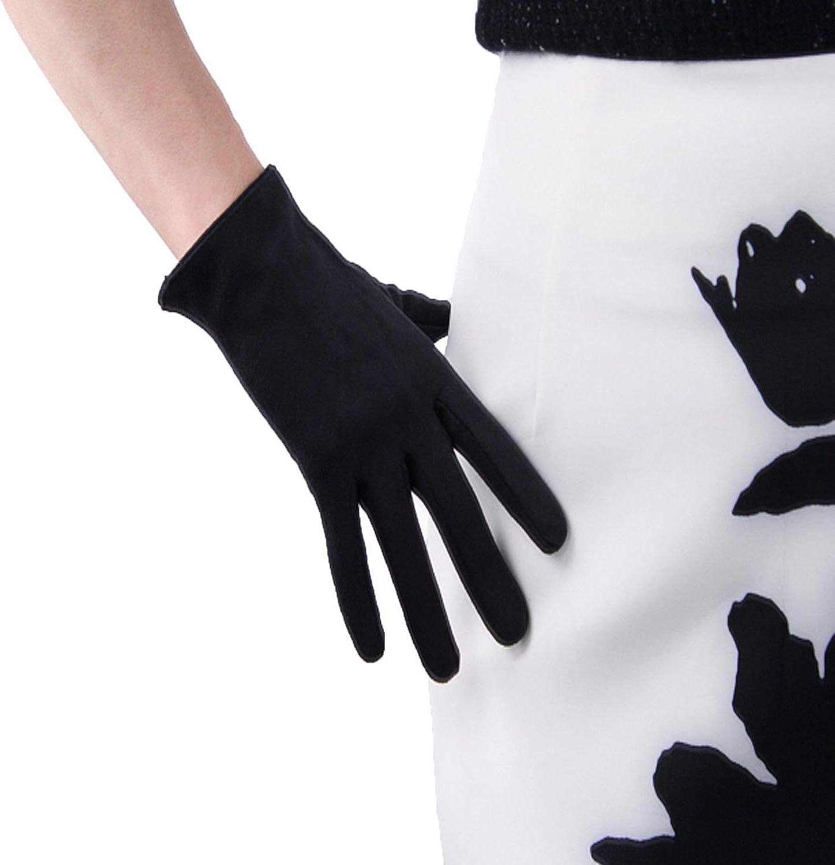 DooWay Black Women Fashion Short Suede Gloves Faux Leather 8