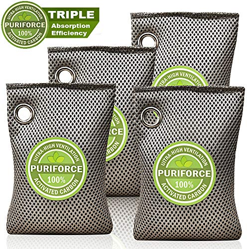 Best Buy! Coconut Charcoal Air Purifying Bag (4 Pack), 3 Times Absorption Efficiency Natural Air Fre...