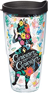 Tervis Disney - Alice In Wonderland Curiouser Insulated Tumbler with Wrap and Black Lid, 24oz, Clear