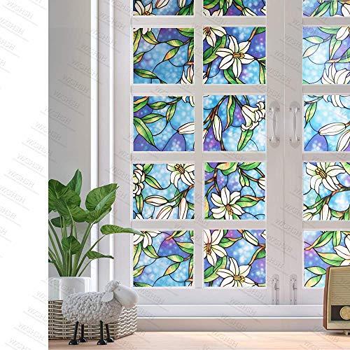 LMKJ Cortinas de Vinilo con Sellado estático, orquídea Azul privacidad vidrieras película Decorativa para Ventanas Control térmico película casera A114 40x200cm