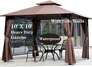 10' X 10' Gazebo Canopy Tent Outdoor Gazebo for Patios with Sidewall and Fabric,Large Party Tent,Metal Frame Waterproof We...