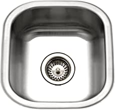Houzer MS-1708-1 Club Series Undermount Stainless Steel Square Bowl Bar/Prep Sink