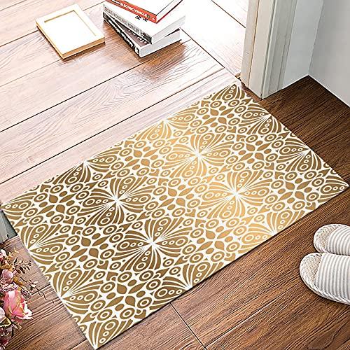 SJIUH Alfombra Gold Moroccan Pattern Damask Doormats For Entrance Way Bathroom Accessories Set Dirt Debris Mud Trapper Floor Carpets Person,50x80cm