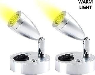 2pcs 12V LED Spot Leeslamp, Wandmontage Warm Licht met Verstelbare Schakelaar, 360 ° Draaien Auto-interieur Licht voor Cam...