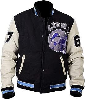 Hills Cop Axel Foley Beverly Cotton Fleece Detroit Lions Vintage Sports 90210 Letterman Jacket
