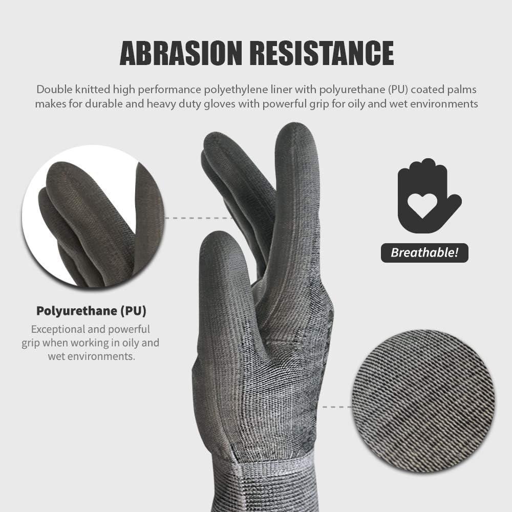 CustomGrips Cut Resistant Gloves HPPE Liner Level 4 Abrasion ...
