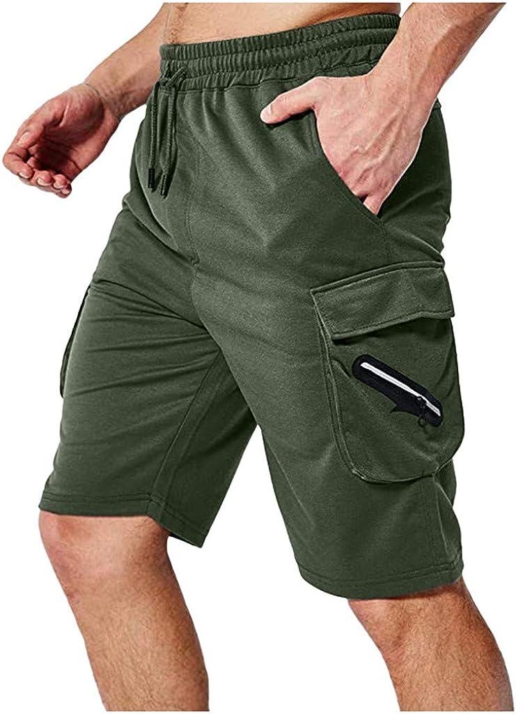 Men's Sports Athletic Shorts Casual Bodybuilding Solid Elastic Waist Elastic Shorts Pant