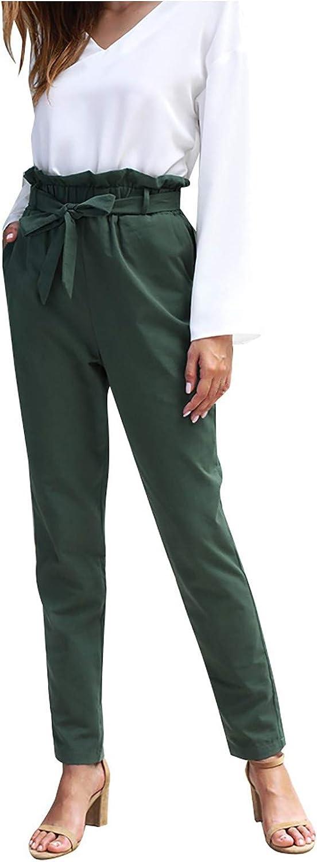 Women's High Waist Pants Elastic Tie Waist Straight Leg Trouser with Pockets