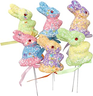 Amosfun 6pcs Easter Egg Ornaments Foam Glitter Bunny Shape Picks Pastel Rabbit Floral Craft Decor Easter Gift Easter Decoration Easter Party Supplies