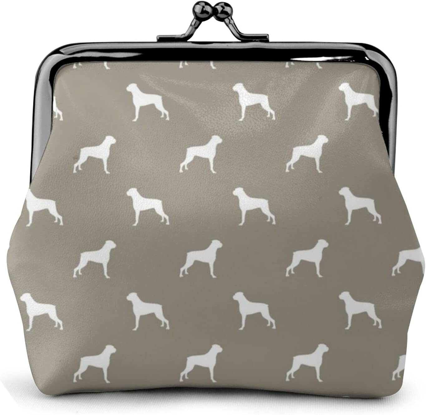 Boxer Dog Pattern 1146 Leather Coin Purse Kiss Lock Change Pouch Vintage Clasp Closure Buckle Wallet Small Women Gift