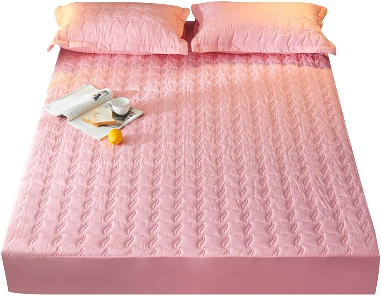 ZHAOHUI Mattress Predector Cotton Waterproof Membrane Non-Slip Antifouling Noiseless Breathable Soft Skin-Friendly, 5 colors, 3 Sizes (color   Pink-B, Size   180X200cm)